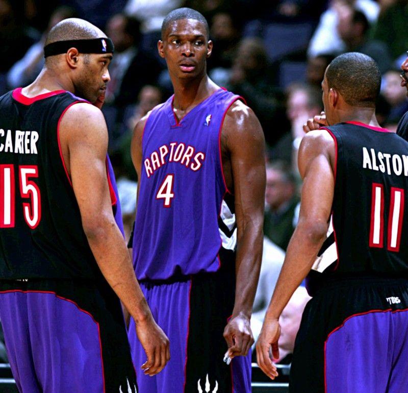 Vince Carter Chris Bosh and Rafer Alston Toronto Raptors